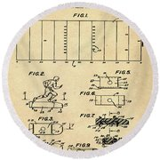 Electric Football Patent 1955 Sepia Round Beach Towel