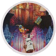 Electric Forest-people Building Houses In The Trees Round Beach Towel