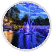Electric Fountain  Round Beach Towel