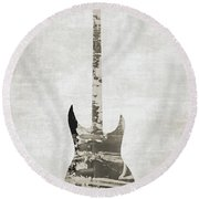 Electric Guitar Sepia Round Beach Towel