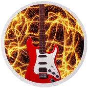 Electric Guitar With Sparks Round Beach Towel