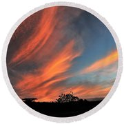 Electric Hawaiian Sunset Big Island Hawaii Round Beach Towel