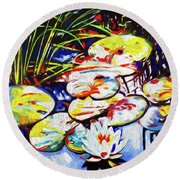 Electric Lillypads Round Beach Towel