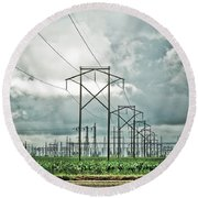 Electric Lines And Weather Round Beach Towel