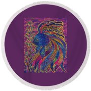 Electric Little Fish Round Beach Towel