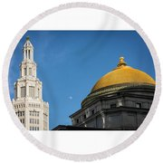 Electric Moon Gold  Round Beach Towel