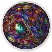 Electric Neon Abstract Round Beach Towel