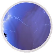 Electric Night Round Beach Towel
