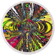 Electric Ripples Round Beach Towel