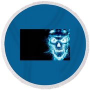Electric Skull Round Beach Towel