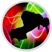 Electric Spectrum Skateboarder Round Beach Towel