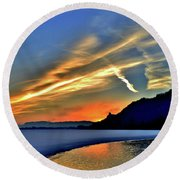 Electric Sunrise Round Beach Towel