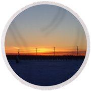 Electric Sunset Round Beach Towel
