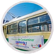 Electric Trolley Took Us To The Port In Valparaiso-chile  Round Beach Towel