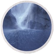 Electric Water - Milford Sound Round Beach Towel
