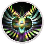 Electric Wings Round Beach Towel