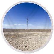 Electricity Pylon In Desert Round Beach Towel
