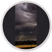 Electrified Clouds Round Beach Towel