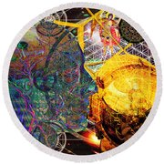 Electromagnetic Lighthouse Thirdeye Portal Round Beach Towel