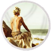 Elegant Classical Beauty  Round Beach Towel