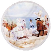 Elegant Figures Watching The Regatta Round Beach Towel