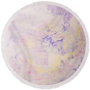 Elegant Hand Made Ink Design In Purple And Yellow Round Beach Towel