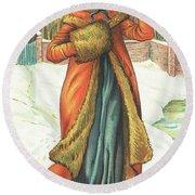 Elegant Lady In Snow, Christmas Card Round Beach Towel