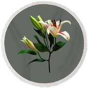 Elegant Lily And Buds Round Beach Towel