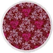 Elegant Red Floral Design Round Beach Towel