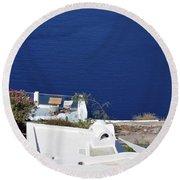 Elegant Restaurant In Santorini, Greece  Round Beach Towel