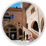 Elegant Scala Della Ragione - Verona Italy Round Beach Towel