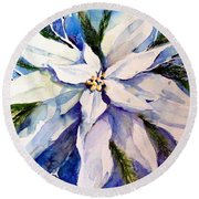 Elegant White Christmas Round Beach Towel