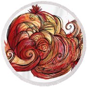 Elements Of Fire Round Beach Towel