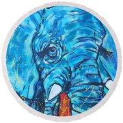 Elephant #3 Round Beach Towel