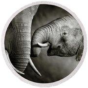 Elephant Affection Round Beach Towel