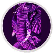 Elephant And Baby Round Beach Towel