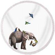 Elephant With Birds Illustration Round Beach Towel