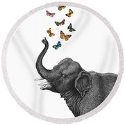 Elephant Blowing Butterflies From His Trunk Round Beach Towel