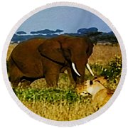 Elephant And The Lions Round Beach Towel