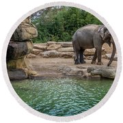 Elephant And Waterfall Round Beach Towel