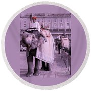 Elephant At Amber Fort Round Beach Towel