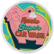 Elephant Car Wash - Rancho Mirage - Palm Springs Round Beach Towel by Jim Zahniser