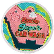 Elephant Car Wash - Rancho Mirage - Palm Springs Round Beach Towel