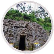 Elephant Cave Temple Round Beach Towel