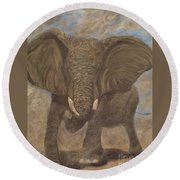 Elephant Charging Round Beach Towel