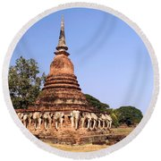 Elephant Chedi Historical Place Round Beach Towel
