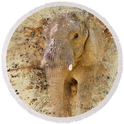Elephant Color Splash Round Beach Towel