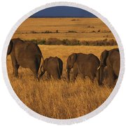 Elephant Family - Sunset Stroll Round Beach Towel