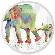 Elephant Family Watercolor  Round Beach Towel by Melly Terpening