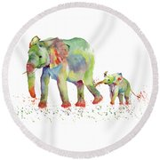 Elephant Family Watercolor  Round Beach Towel